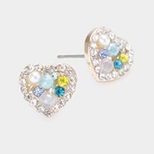 Pearl Multi Stone Embellished Heart Stud Earring